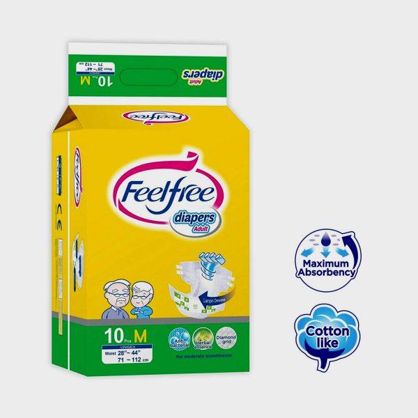 Feelfree Adult Diaper, Medium Adult Diapers - M