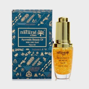 Natural Vibes Ayurvedic Beauty Face Oil with 24K Gold Flakes- 15ml